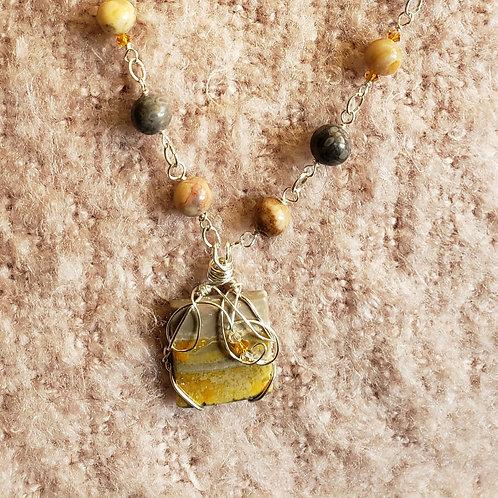 Bumble bee Jasper Necklace