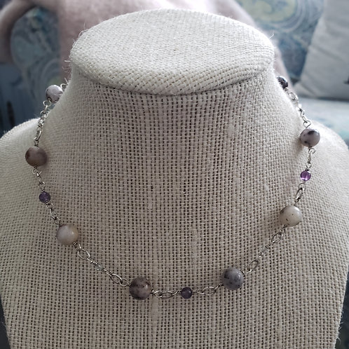 Purple Moss Jasper and Fluorite in sterling silver