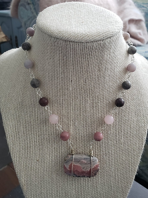 Druzy Rhodonite in sterling silver
