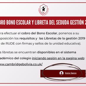 Libreta del SEDUCA Gestión 2019 y Bono Escolar