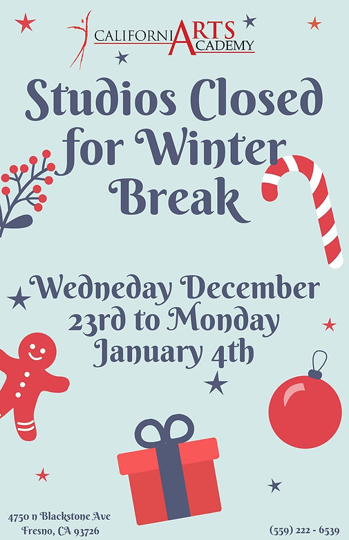 Copy of Studios Cl0sed for Winter Break