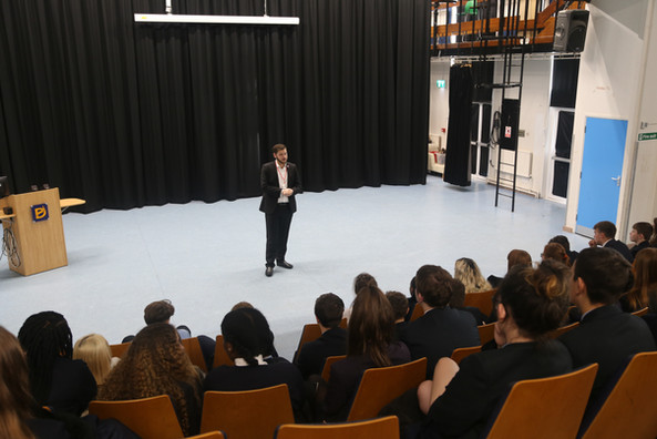 Aston Addresses Students At The Deanes Academy