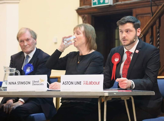 Sir David Amess (Conservative). Nina Stimson (Liberal Democrat), & Aston Line (Labour) Debate At Parliamentary Hustings 2019