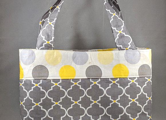 Grey and yellow Polka Dot Tote