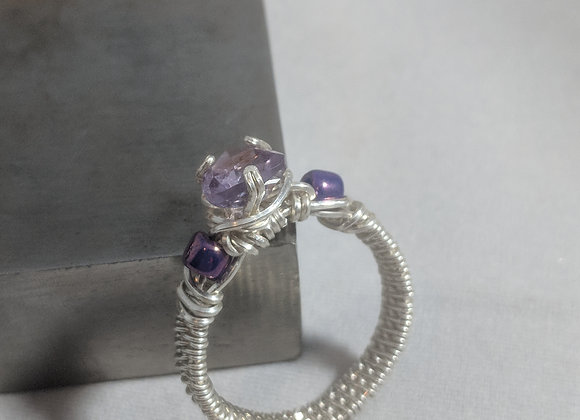 Wire wrapped Silver Amethyst Ring - Size 7