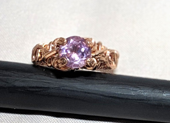 Wire wrapped 14k rose gold amethyst solitaire ring