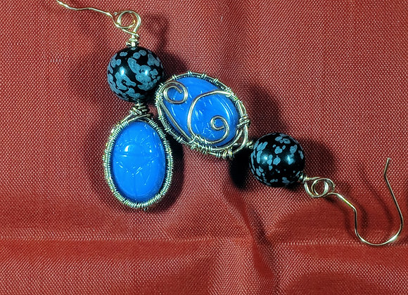 Wire wrapped Scarab Egyptian Earrings