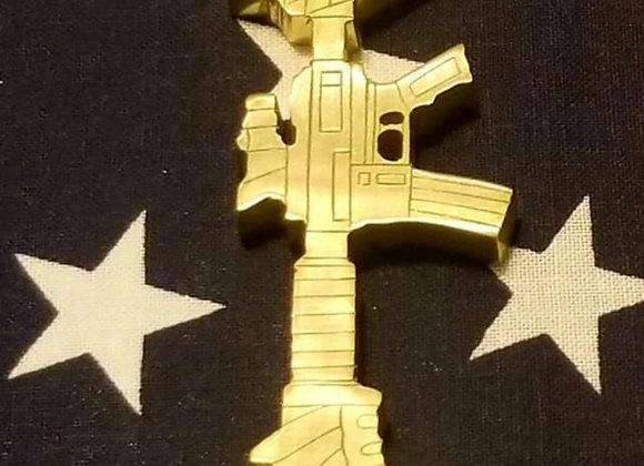 Detailed Engraved Memorial EDC bottle opener, battlefield cross, breacher