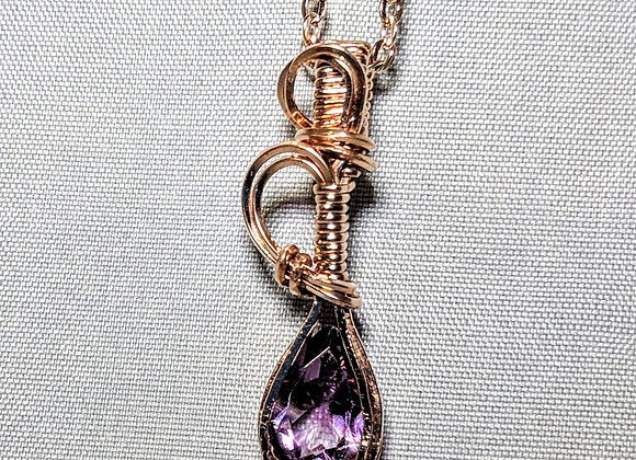 14k Rose Gold wire wrapped Amethyst Pendant