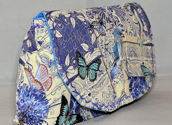 Bluebirds and butterfly peony clutch purse