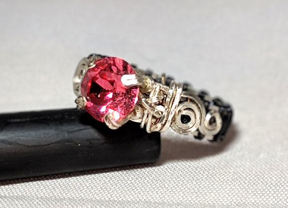 Wire Wrapped Pink Sapphire Swirl Solitaire - size 7.5
