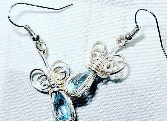 Wire wrapped Blue Topaz silver Drop Earrings