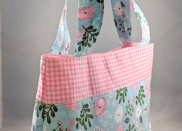 Country pink flower tote