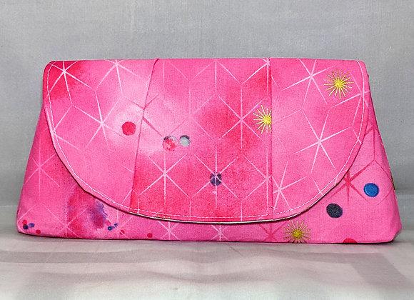 Pink Stars peony clutch