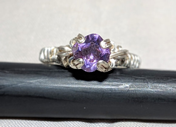 Wire Wrapped Square Amethyst Solitaire Ring - size 5.25