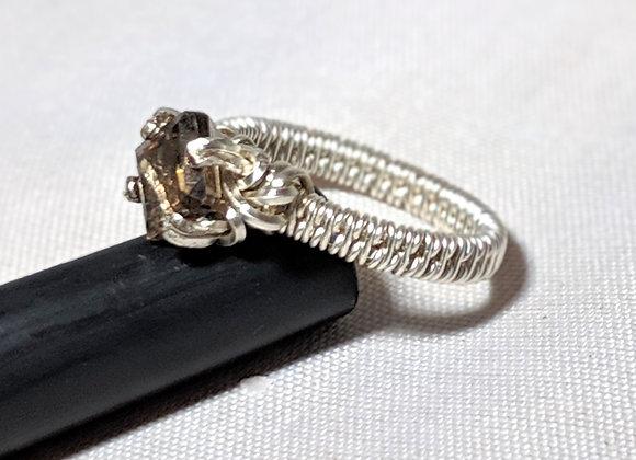 Square smoky quartz solitaire ringsquare smoky quartz solitaire ring