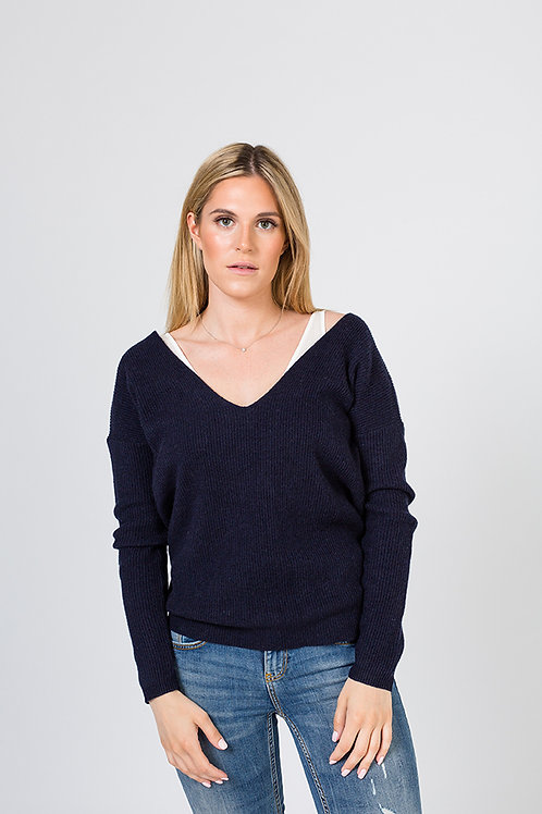 AMORPH - Sam - Light Ripp V-Neck NAVY ONLY