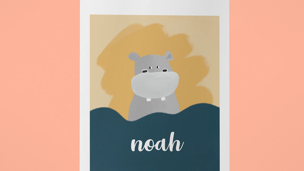 Kinder Poster Illustration Kleiner Hippo