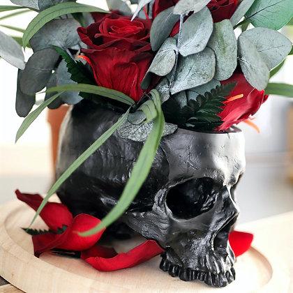 Composition sous cloche / Crâne et roses
