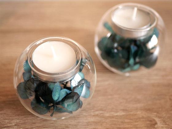 Lot de 2 bougeoirs fleuris - Hortensia bleu stabilisé