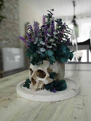 Crâne fleuri sous cloche en verre
