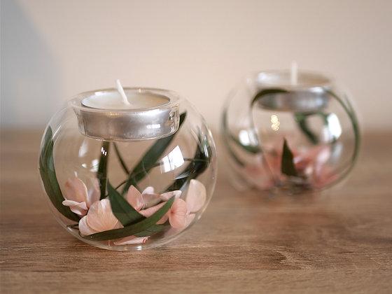 Lot de 2 bougeoirs fleuris - Eucalyptus et Hortensia rose stabilisés