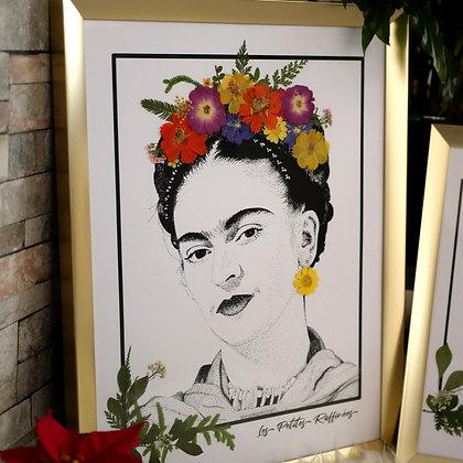 Cadre Frida Kahlo fleuri