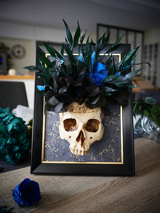 Cadre crâne fleuri