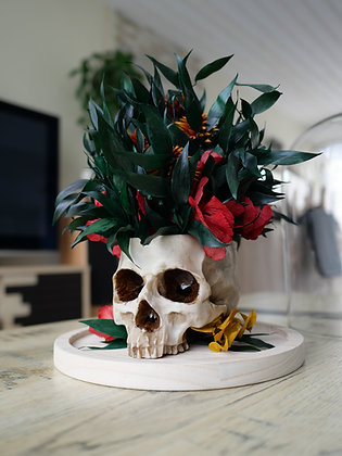 Crâne fleuri sous cloche