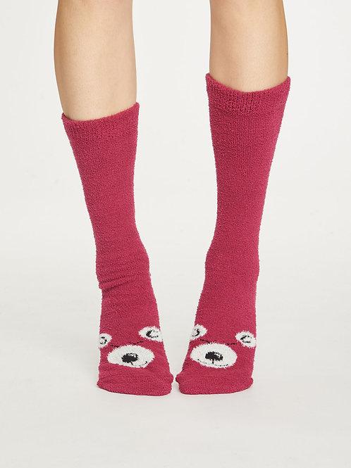 Fuzzy Animal Recycled Socks - Cranberry