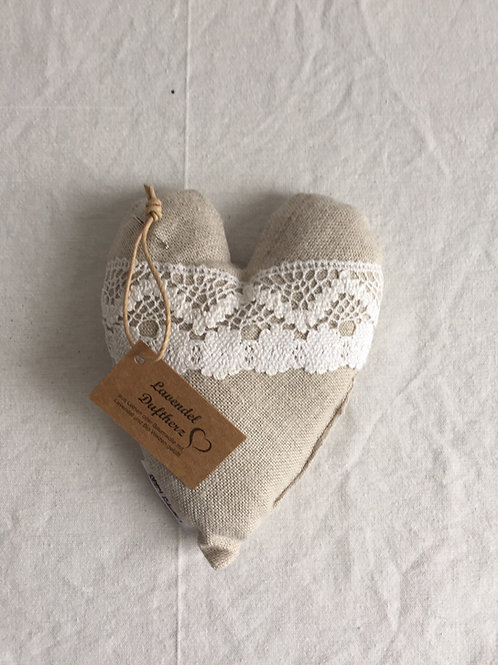 Upcycling Duftherz Lavendel - beige & Spitze weiss gross