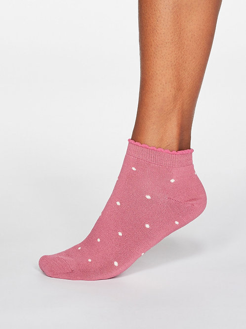 Eudora Spotted Bamboo Socks - Dark Rose Pink