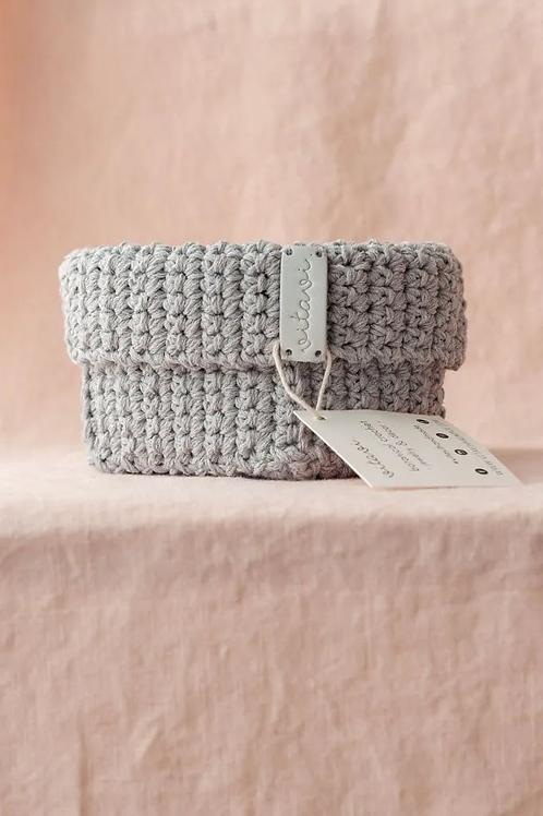 Crochet Körbchen grau - Medium