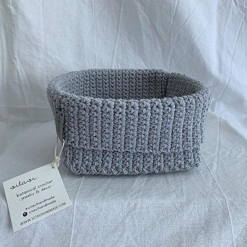 Crochet Körbchen grau - Large