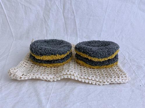 Waschbare Kosmetik Pads mit Baumwollnetz - Dunkelgrau