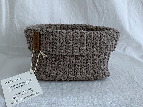 Crochet Körbchen braun - Large
