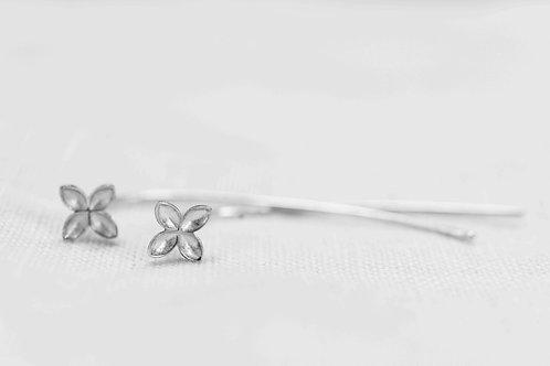Floret on Stem Earrings - Silber