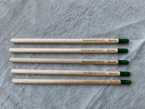 Set mit 5 x Bleistift mit Samenkapsel - Vergissmeinnicht