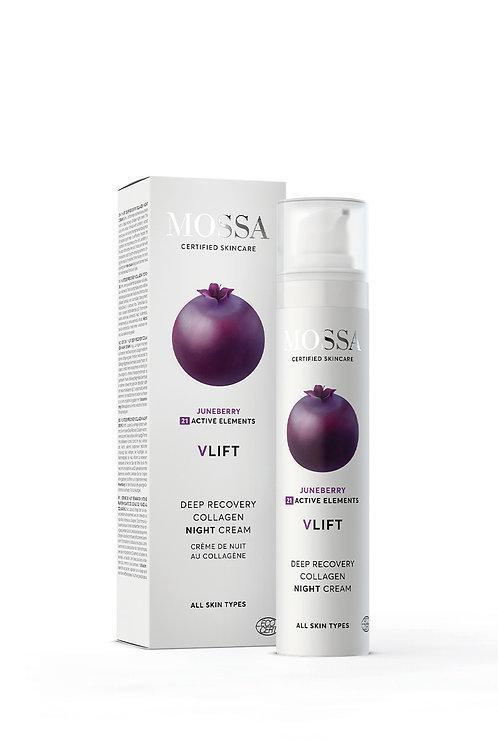 Mossa Certified Cosmetics V-Lift Deep Recovery Collagen Night Cream, natürliche Anti-Aging Nachtcreme, ethisch, nachhaltig