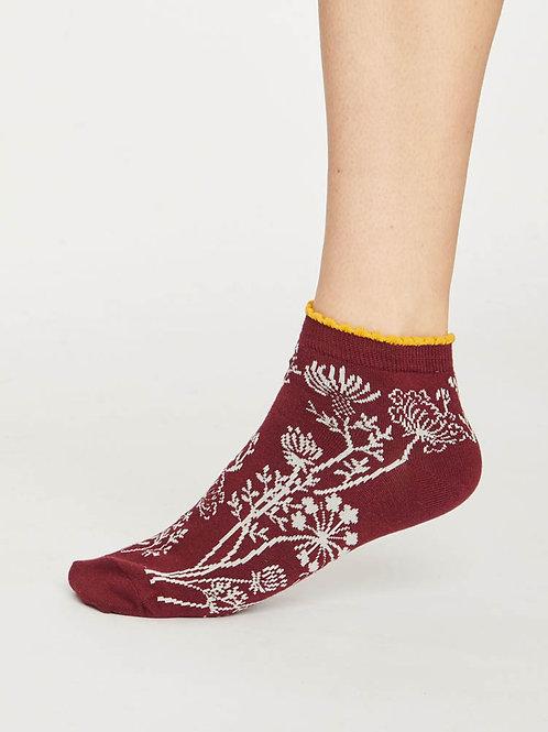Sneaker Socken Füssi Thought rot Blumen fair ethisch nachhaltig