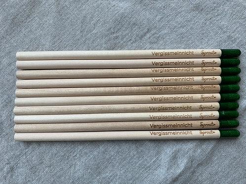 Set mit 10 x Bleistift mit Samenkapsel - Vergissmeinnicht