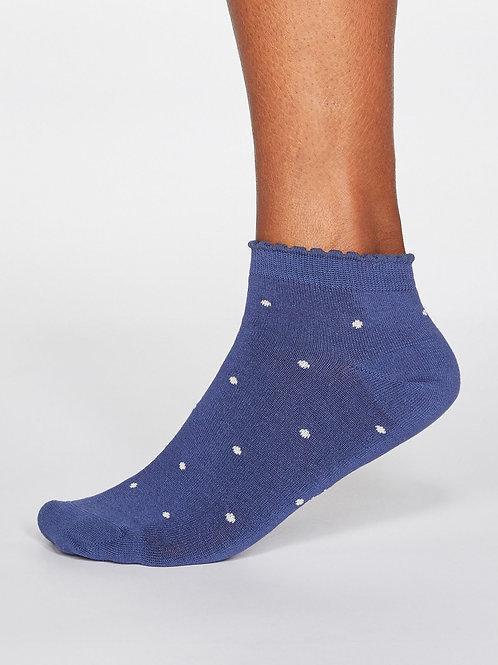 Eudora Spotted Bamboo Socks - Mineral Blue