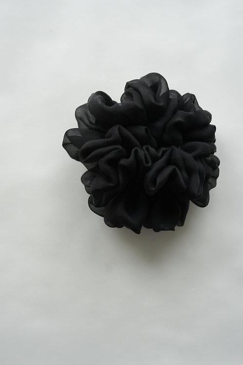 Scrunchie Haargummi Black schwarz Seide handgemacht