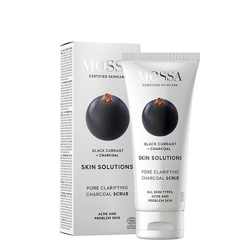 Mossa Certified Cosmetics Pore Clarifying Charcoal Scrub, natürliches Peeling mit Aktivkohle bei Akne- & Problemhaut