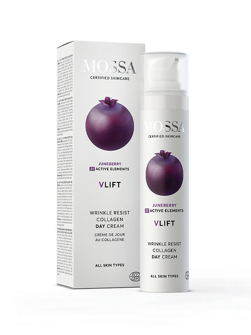 Mossa Certified Cosmetics V-Lift Wrinkle Resist Collagen Day Cream, natürliche Anti-Aging Tagescreme, ethisch, nachhaltig