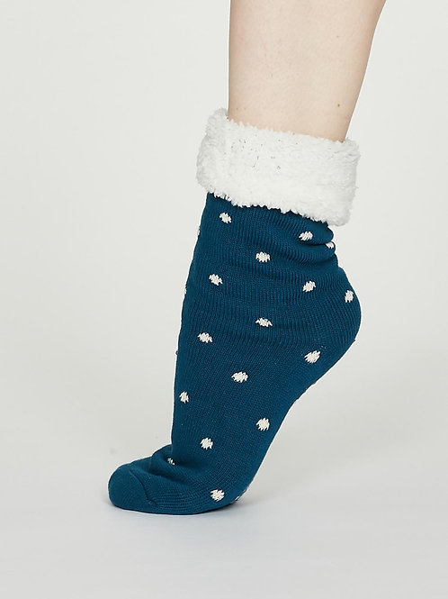 Elizabeth Cabin Socks - Teal Blue