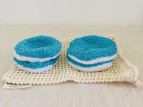 Waschbare Kosmetik Pads mit Baumwollnetz - Türkis
