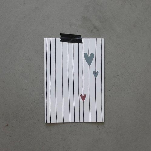 Hearts & Stripes - Karte A6