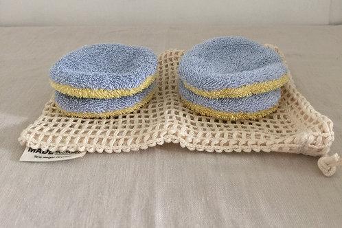 Waschbare Kosmetik Pads mit Baumwollnetz - Hellblau