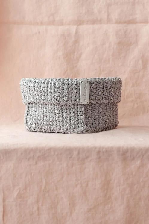 Crochet Körbchen grau - Big